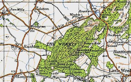 Old map of The Wrekin in 1947