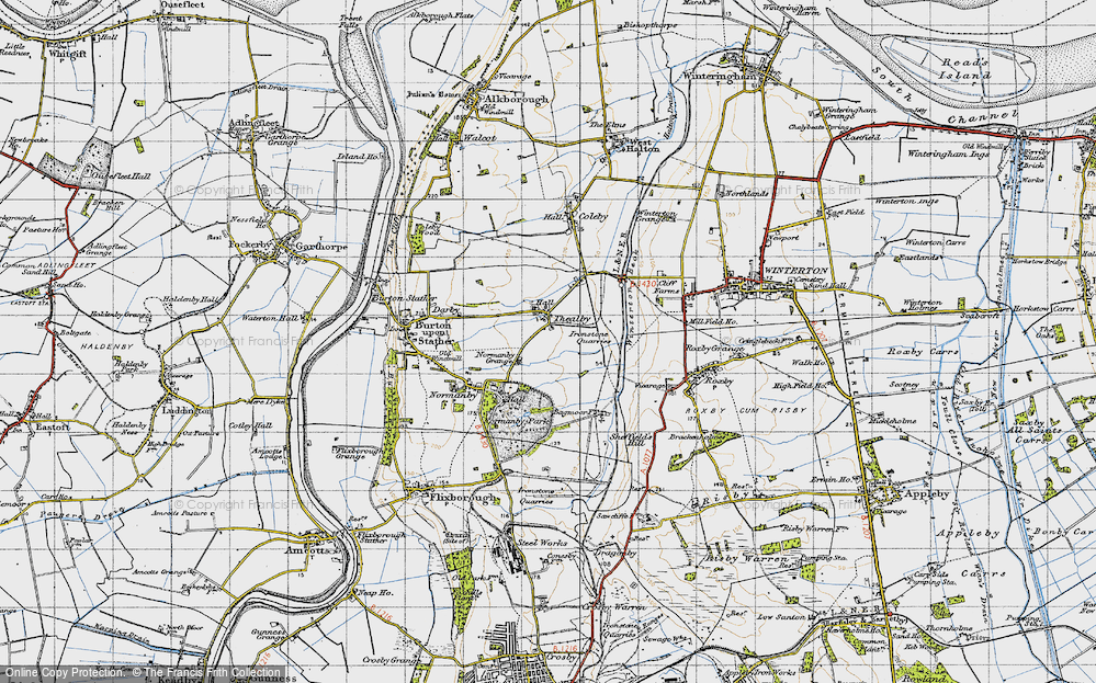 Old Map of Historic Map covering Barkers Holt in 1947