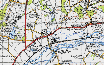 Old map of Theale in 1945