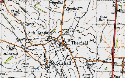 Old map of Therfield in 1946