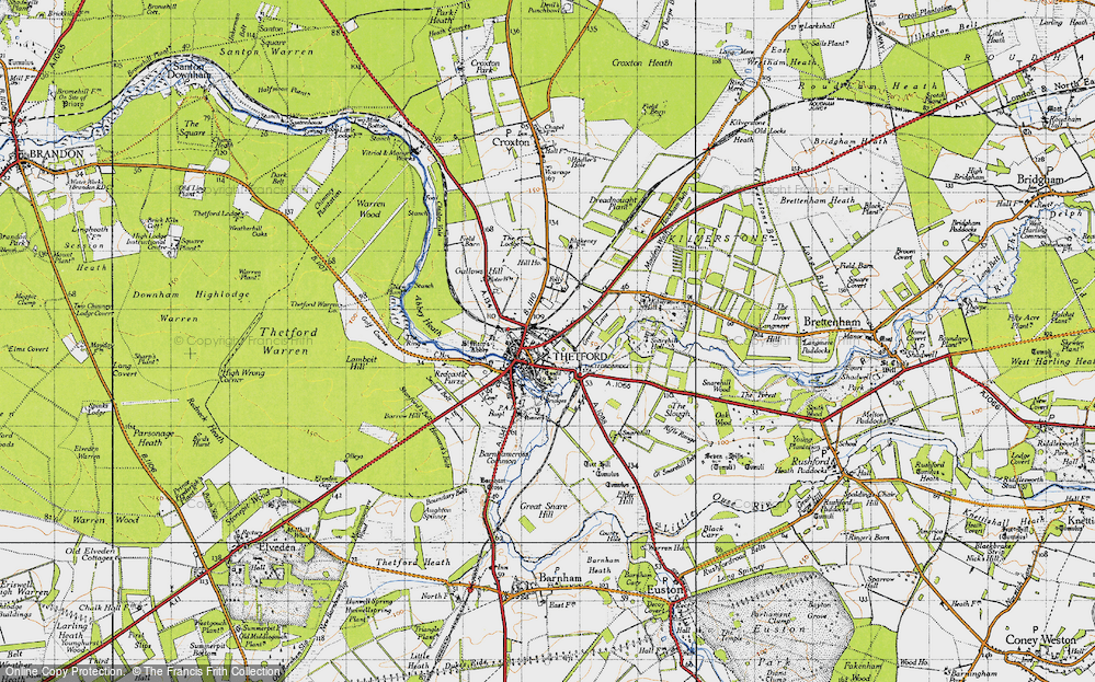 Old Map of Historic Map covering Abbey Heath in 1946
