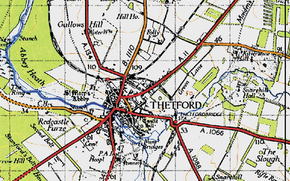 Old map of Thetford in 1946