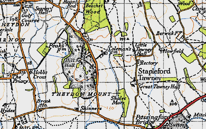 Old map of Theydon Mount in 1946