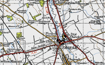 Old map of Thirsk in 1947
