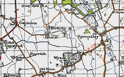 Old map of Wycliffe Plantn in 1947