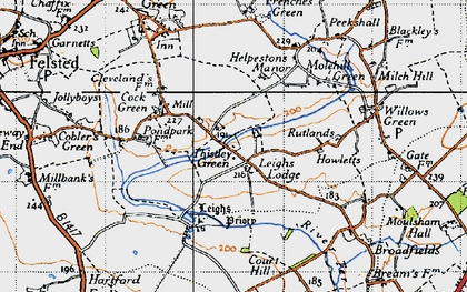 Old map of Leighs Lodge in 1945