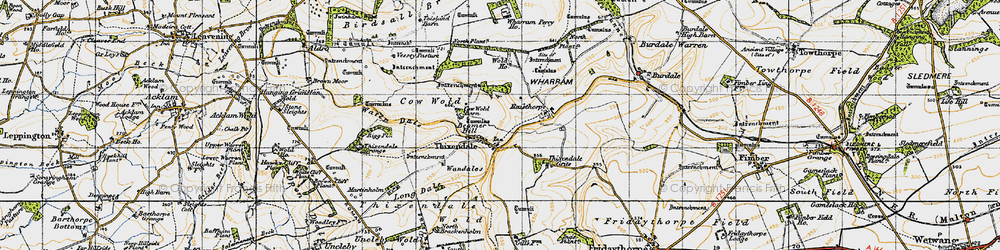 Old map of Wolds Way in 1947