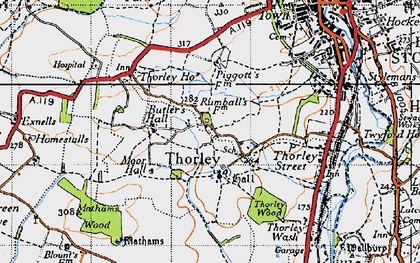 Old map of Thorley in 1946