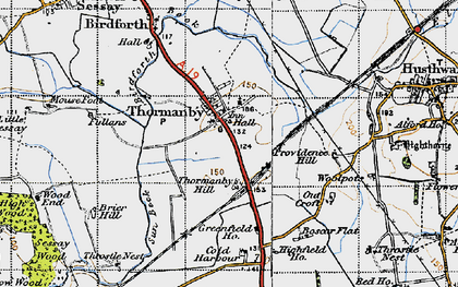 Old map of Woodman's Ho in 1947