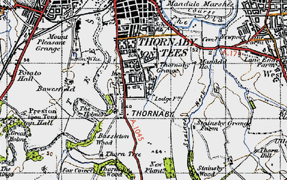 Old map of Thornaby-on-Tees in 1947