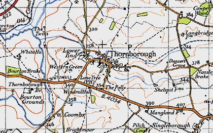 Old map of Thornborough in 1946