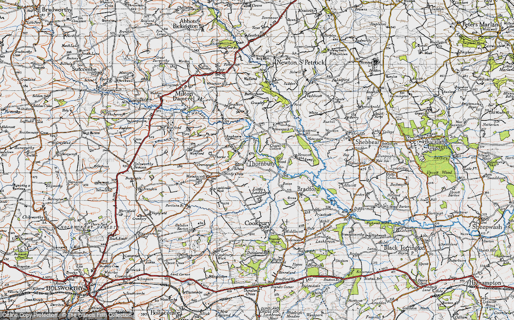 Old Map of Historic Map covering Lashbrook in 1946