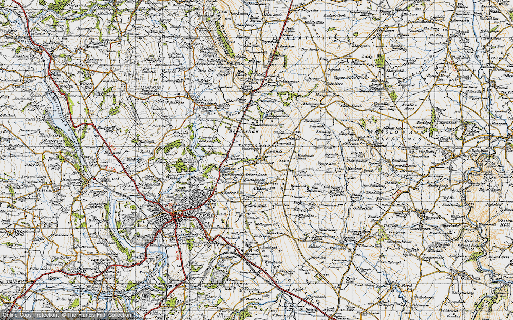 Old Map of Historic Map covering Ley Fields in 1947
