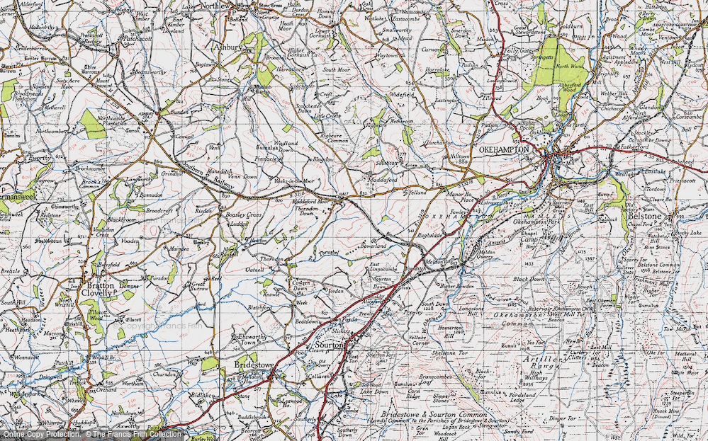 Old Map of Historic Map covering Linnacombe in 1946