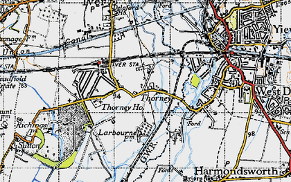 Old map of Thorney in 1945