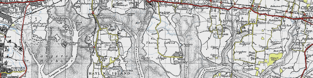 Old map of Wickor Point in 1945