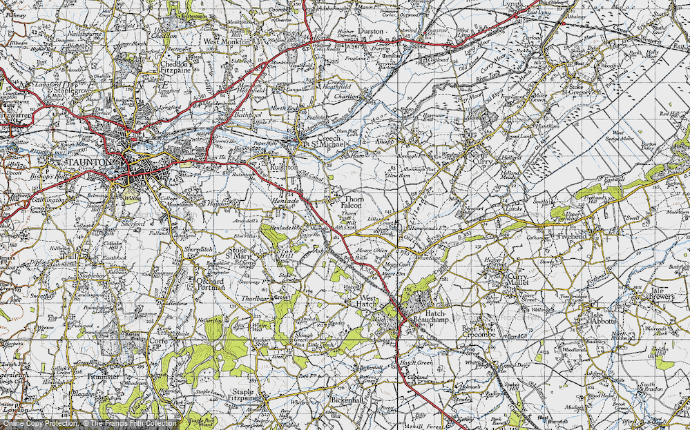 Old Map of Historic Map covering Ash Cross in 1946
