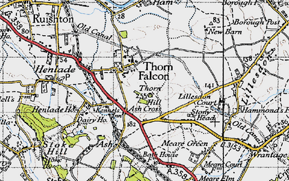 Old map of Ash Cross in 1946