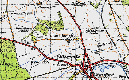 Old map of Wittering Grange in 1946