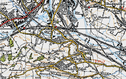 Old map of Thornhill Lees in 1947