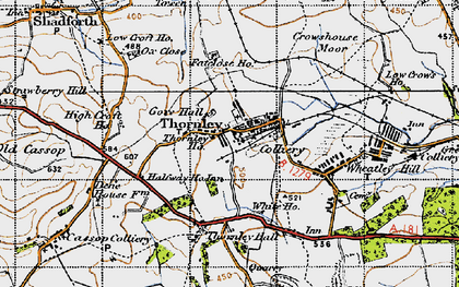 Old map of Thornley in 1947
