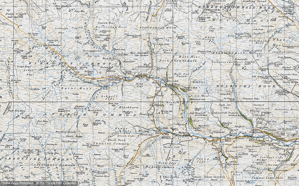 Old Map of Historic Map covering Ashgill Side in 1947