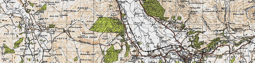 Old map of Whinlatter Forest Park in 1947