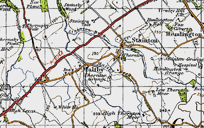 Old map of Stainton Beck in 1947