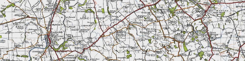Old map of Thornton in 1947