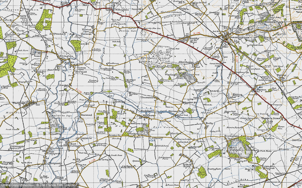 Old Map of Historic Map covering Allerthorpe Common in 1947