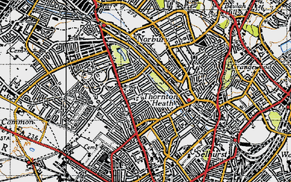 Old map of Thornton Heath in 1946