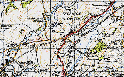 Old map of Thornton-in-Craven in 1947