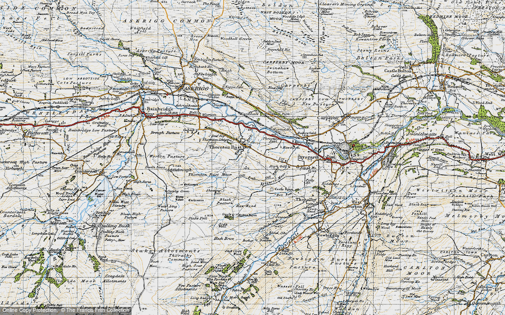 Old Map of Historic Map covering Aysgarth Moor in 1947