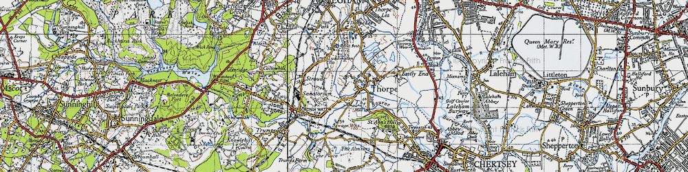 Old map of Thorpe in 1940