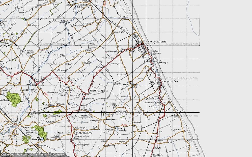 Old Map of Historic Map covering Bamber's Br in 1946