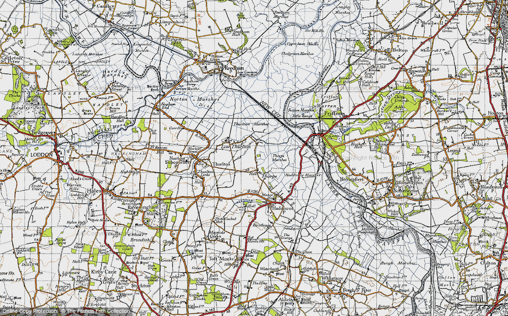 Old Map of Historic Map covering Thurlton Marshes in 1946