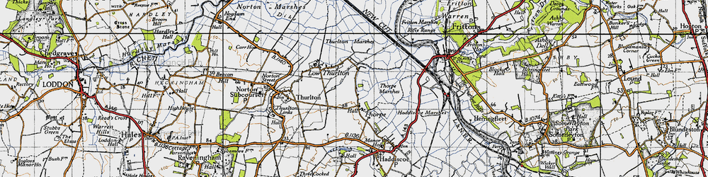 Old map of Thurlton Marshes in 1946