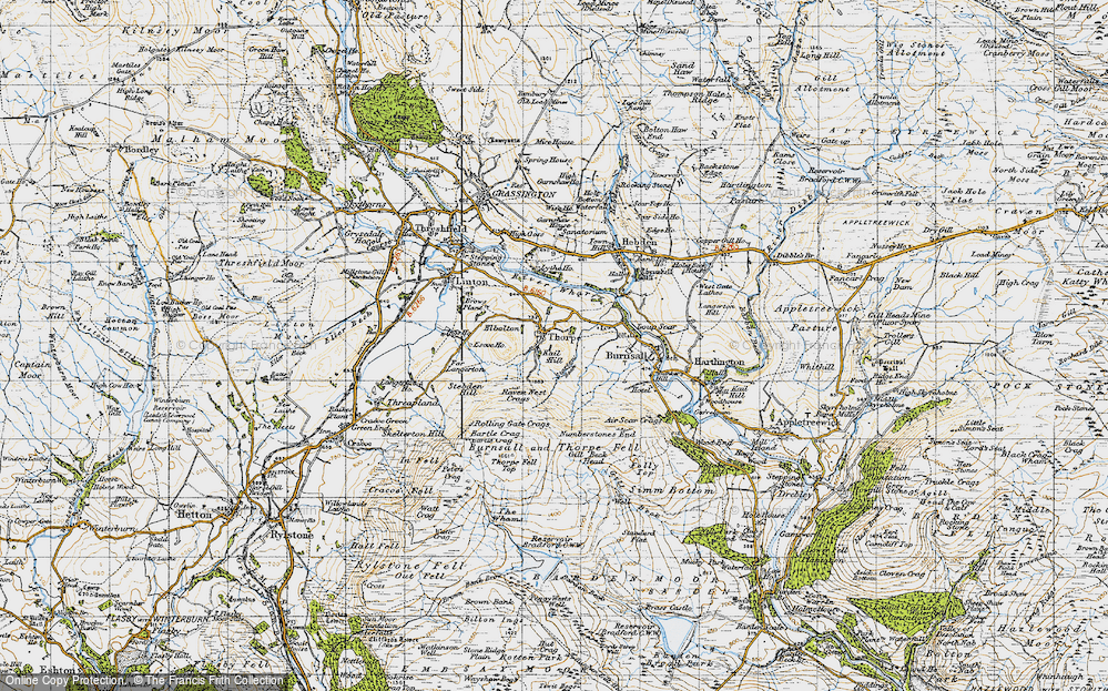 Old Map of Historic Map covering Air Scar Crags in 1947