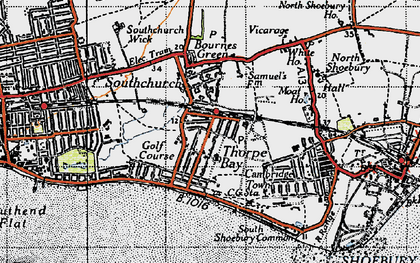 Old map of Thorpe Bay in 1946