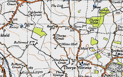 Old map of Almshouse Green in 1946
