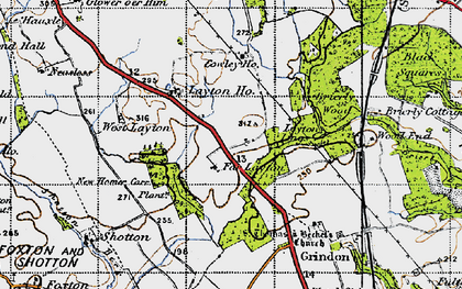 Old map of Layton Village in 1947