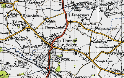 Old map of Thorpe-le-Soken in 1946