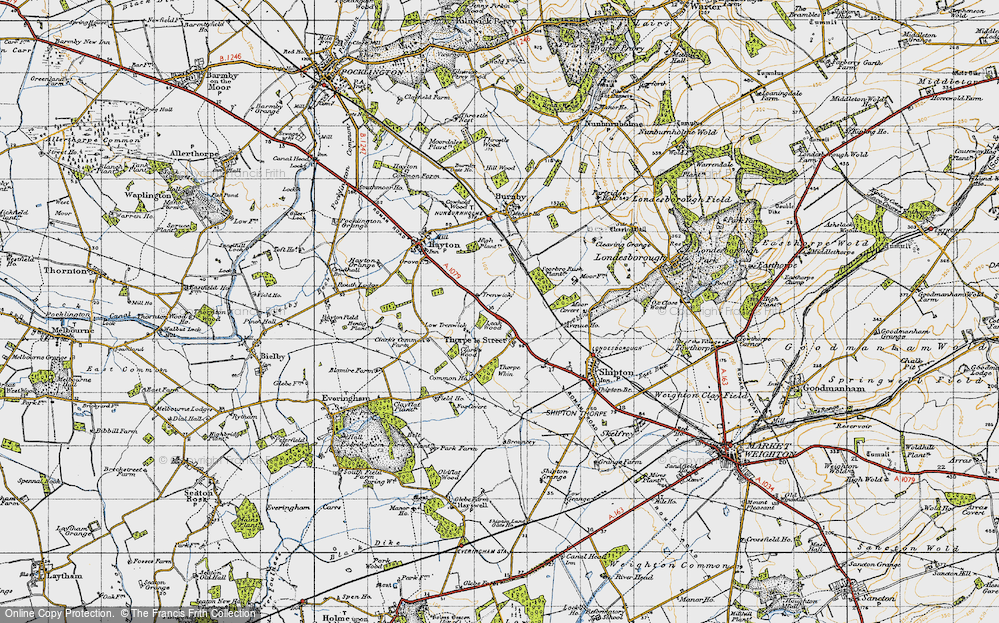 Old Map of Historic Map covering Leak Wood in 1947