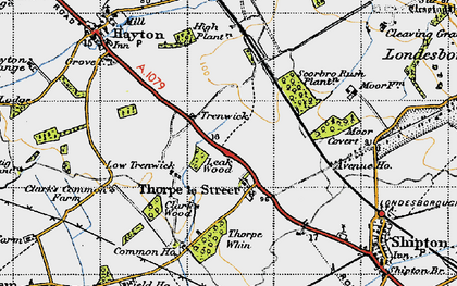 Old map of Leak Wood in 1947