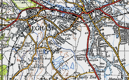 Old map of Thorpe Lea in 1940