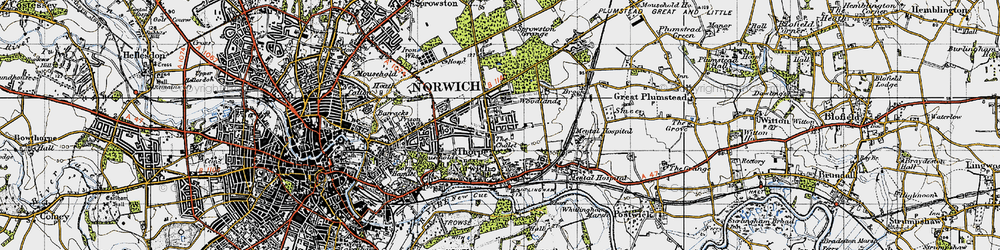 Old map of Thorpe St Andrew in 1945