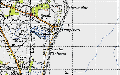Old map of Thorpeness in 1946