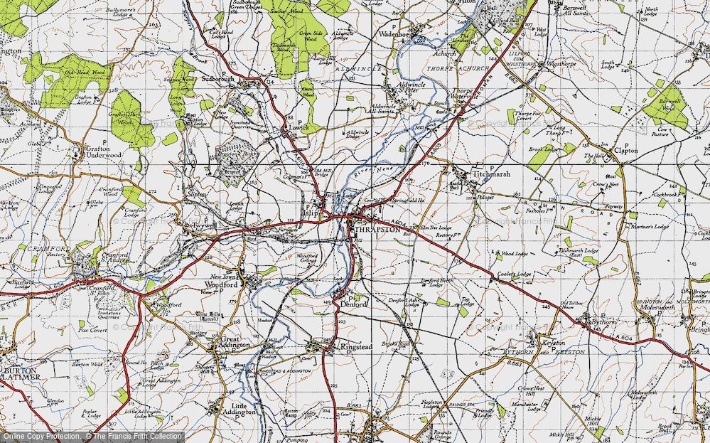 Old Map of Historic Map covering Woodford Grange in 1946