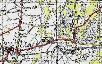 Old map of Three Bridges in 1940