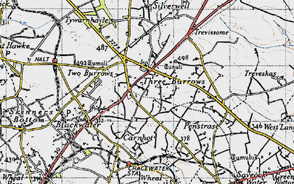 Old map of Three Burrows in 1946